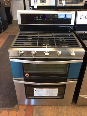 (Anoka 4263-SM LM) Whirlpool Stainless Steel 5 Burner Double Oven Gas Stove for Sale in Anoka, MN