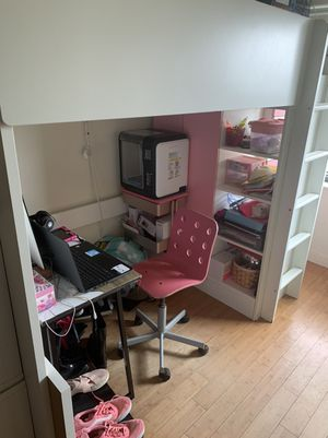 Stuva Loft twin bed with 4 drawers/ 2 pink closet doors for Sale in The Bronx, NY