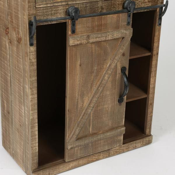Rustic Wood Console Cabinet with Sliding Barn Door