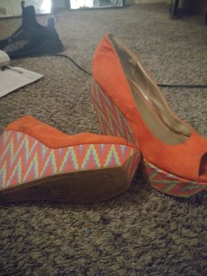 Green heels size 11 $10, Shiny Red heels size 10 $5, Dark blue heel size 10 $5, Blue wedges size 10 $5, Orange wedges size 10 $5 for Sale in Cameron, NC