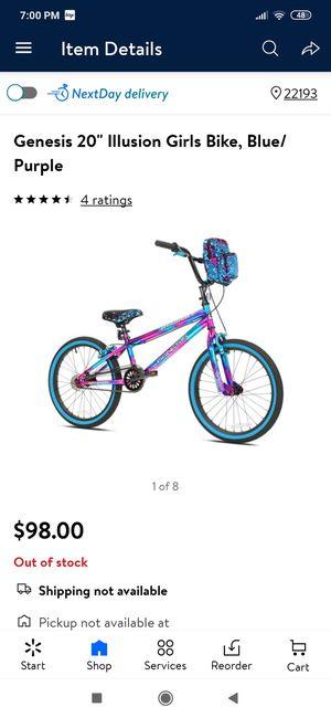 "Genesis 20"" lllusion Girls Bike, Blue/ Purple for Sale in Woodbridge, VA"