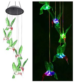 ZOUTOG Solar String Lights, Color Changing LED Mobile Hummingbird Wind Chimes, Waterproof Outdoor Solar Lights for Home/Yard/Patio/Garden for Sale in Fullerton, CA