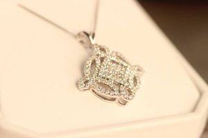 STUNNING SPARKLE HIGH END 2 CARAT DIAMOND NECKLACE PENDANT 14K W GOLD for Sale in Las Vegas, NV