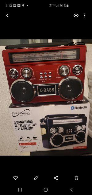 New 3 band radio Bluetooth, flashlight, sd usb fm for Sale in Riverside, CA