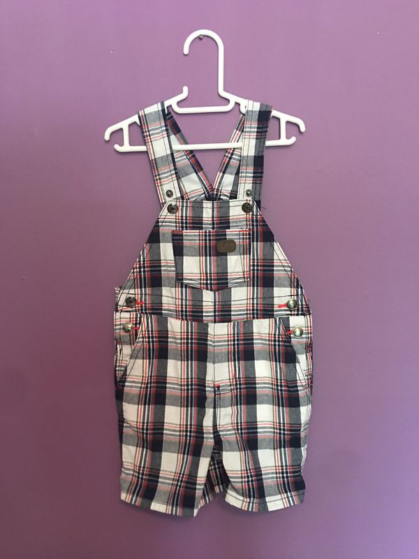 Lee | Baby Boy Red Black White checkered shorts Overalls | 18 months