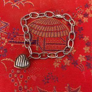 925 Sterling Silver Ladies Charm Bracelet Heart Charm for Sale in Orange, CA