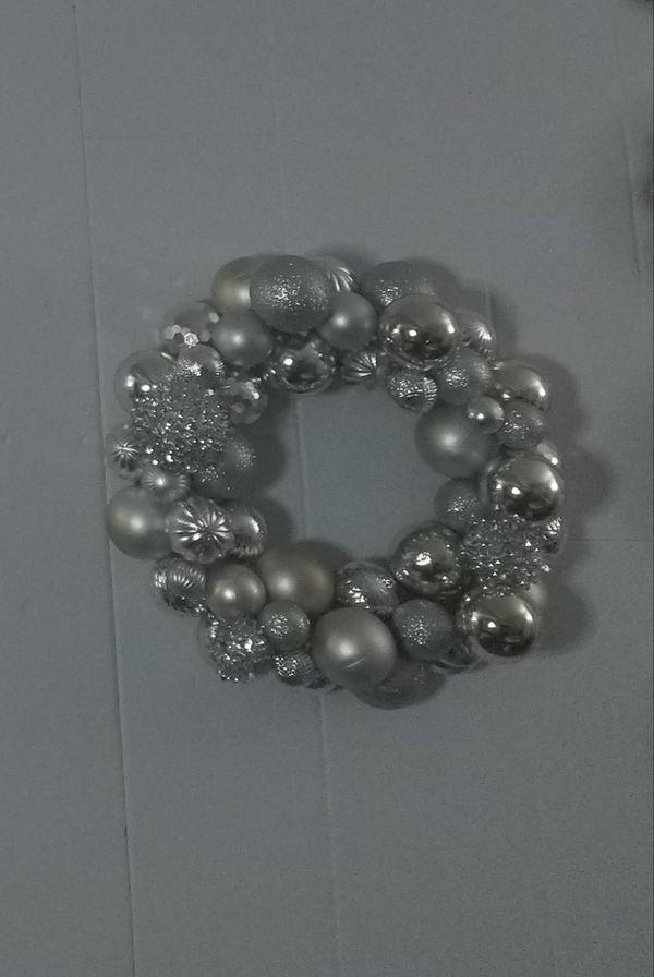Handmade elaborate silver wreath