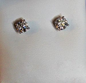 1.54 T.W. 14Kt. White Gold Round Diamond Stud Earrings for Sale in Pittsburgh, PA