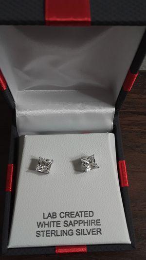 Brand new white sapphire sterling silver earrings for Sale in Nashville, TN