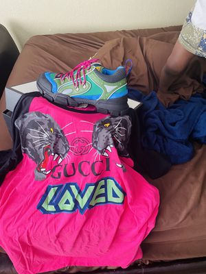 Gucci shoes and shirt shoes size 11 shirt 2xl comes with receipt for Sale in Jacksonville, FL