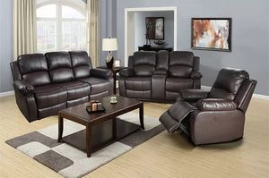 Reclining set 3pc Brown Leather for Sale in Puyallup, WA