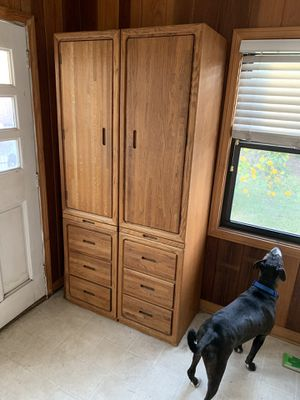 4 piece Midcentury 1970's Cabinets and Desk/ Vanity w/ mirror for Sale in Los Angeles, CA