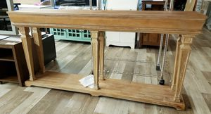 NEW Powell Driftwood Finish Solid Pine Benjamin Console Table for Sale in Burlington, NJ