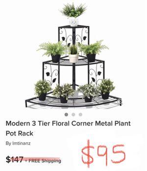 Modern 3 tier floral corner metal plant pot rack for Sale in Victorville, CA