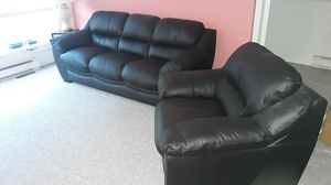 Black Leather couch and chair for Sale in White Haven, PA
