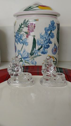Tiny Pair of Williams Sonoma Santa Candle Holders Glass for Sale in Norwalk, CA