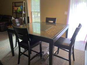 Gorgeous Wood/Glass Dining Room Table plus 4 Leather Chairs for Sale in Glyndon, MD