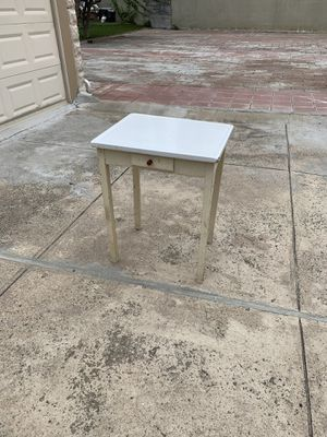 Kitchen island microwave stand work table Mini wear Metal top with wood base for Sale in Queens, NY