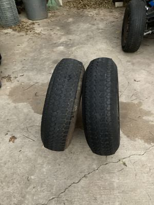 Two tires with wheels for utility trailer llantas para traila for Sale in Irving, TX