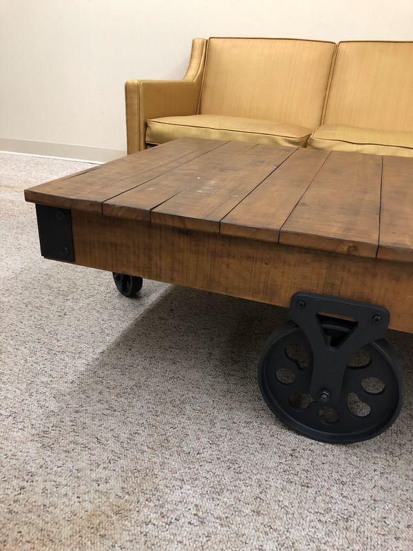 Wood Coffee Table Stand Rolls Greenwood Seattle Furniture