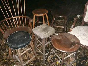 Lot of 5 antique vintage solid wood stools, 1 solid wood Captain's armchair and 1 antique Victorian tapestry armchair for Sale in Elyria, OH