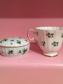 Antique Vintage St Patrick's Day Irish Shamrock Tea Cup & Jewelry Box. Fine China for Sale in Bellflower,  CA