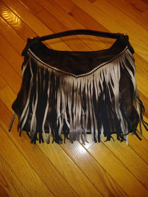 Black saddle bag with fringe and zipper for Sale in Atlanta, GA
