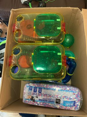 Hamster two story cages with paper bedding and multiple building pieces for Sale in Port St. Lucie, FL