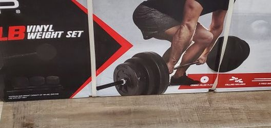New 100 Pounds Vinyl Barbell Set for Sale in Hesperia,  CA