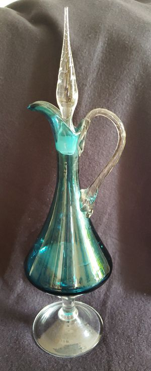 Vintage Murano Handblown turquoise decanter for Sale in Manchester, MO
