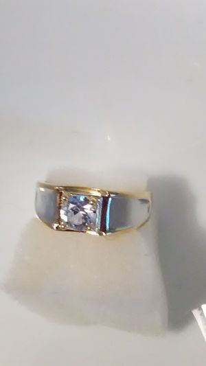 Size 8 men's wedding band white topaz 18K gold embellishment over 925 sterling ring for Sale in Lombard, IL
