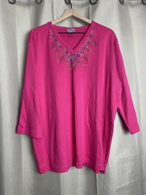 Women's hot pink embroidered blouse size large for Sale in Fullerton, CA