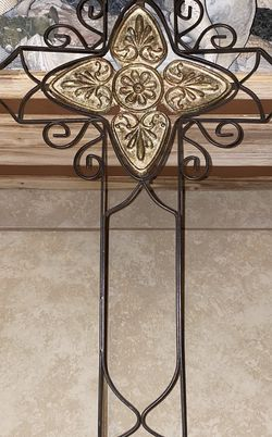 "Decorative Carved Cross Dark Finish For Wall Hanging It's approximately 23""L for Sale in Spartanburg,  SC"