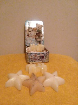 STAR - SHAPE CANDLES/ Teddy Bear Tin- Can!!! for Sale in Grosse Pointe, MI