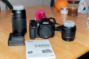 Nikon d3400 with 2lenses for Sale in Virginia Beach, VA