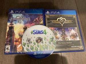 Sealed and used ps4 games (kingdom hearts 3, the story so far, sims 4) for Sale in San Mateo, CA