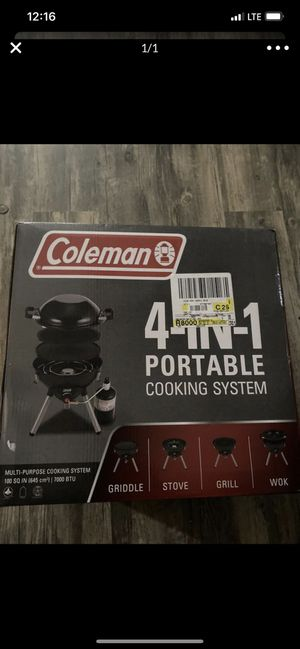 Coleman Gas Camping Stove   4 in 1 Portable Propane Cooking System, Black for Sale in Los Angeles, CA