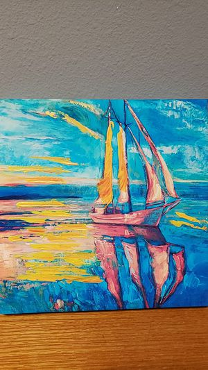 Painted canvas wall art (sailboat) for Sale in Eugene, OR