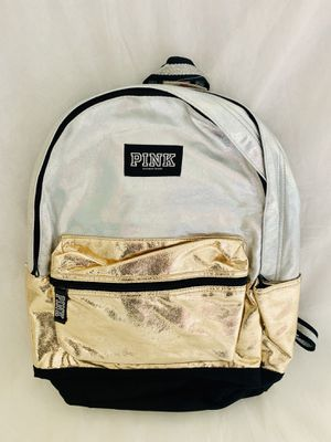 NWT Victorias Secret PINK BLING IRIDESCENT SILVER/GOLD SEQUIN CAMPUS BACKPACK for Sale in CHAMPIONS GT, FL