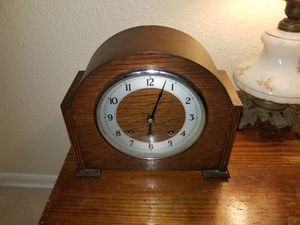 Antique mantel clock England wood key for Sale in North Port, FL