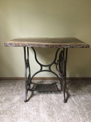 Live Edge Wooden Table w/ Antique Iron Frame for Sale in Westerville, OH