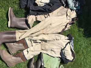 Cabela's chest waders, 3 fishing rain jackets and 1 pair of hip boots. 1 chest wader size 10, other chest waders size 12, Hodgeman hip boots size 10. for Sale in Tacoma, WA