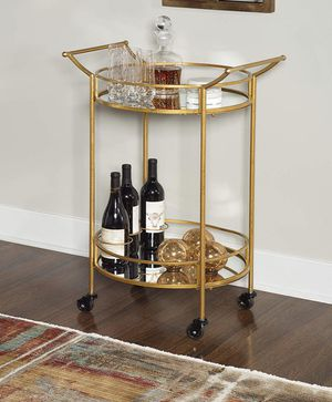 Linon Round Bar Cart, Gold for Sale in Ontario, CA