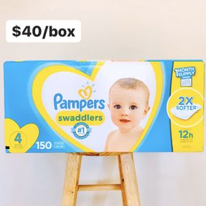 Size 4 (22-37 lbs) Pampers Swaddlers (150 baby diapers) *PROMO* BUY ANY 2 PAMPERS BRAND BIG BOXES, GET 1 FREE HUGGIES TUB 64ct for Sale in Stanton, CA