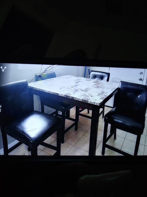 Granite Table set with 4 high chairs
