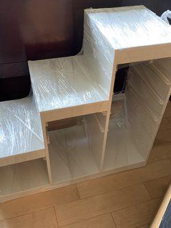 Ikea White Trofast With Green And Red Bins for Sale in Mountlake Terrace,  WA