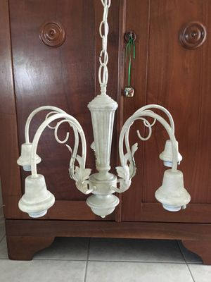 Off white chandelier light with globes for Sale in Boca Raton, FL