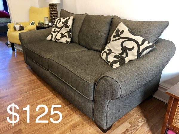 Dark Gray Sofa/ Couch with Rolled Arms - Great Condition
