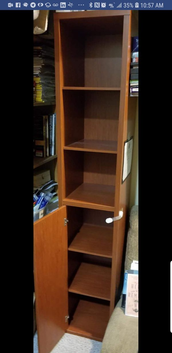 Ikea shelf bookcase with glass cabinets