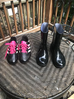 Kids soccer cleats size 1/kids rain boots size 2 for Sale in Fairfax Station, VA